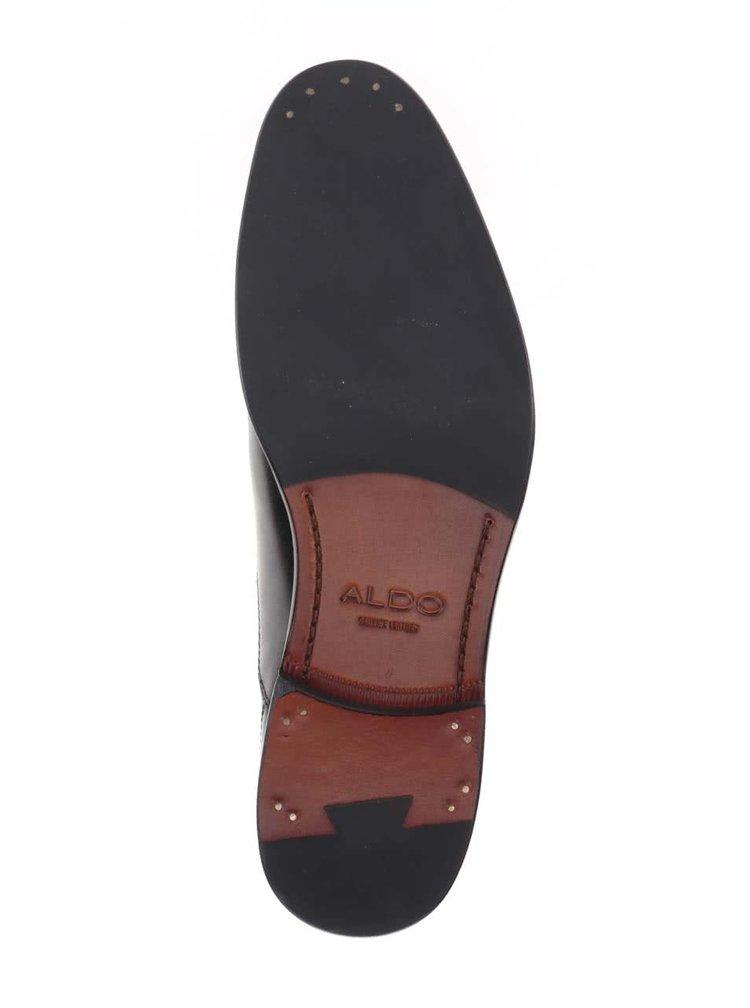 Čierne kožené pánske poltopánky ALDO Bassham