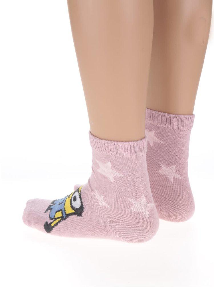 Súprava 3 farebných dievčenských ponožiek s motívom Mimoňov name it Minions