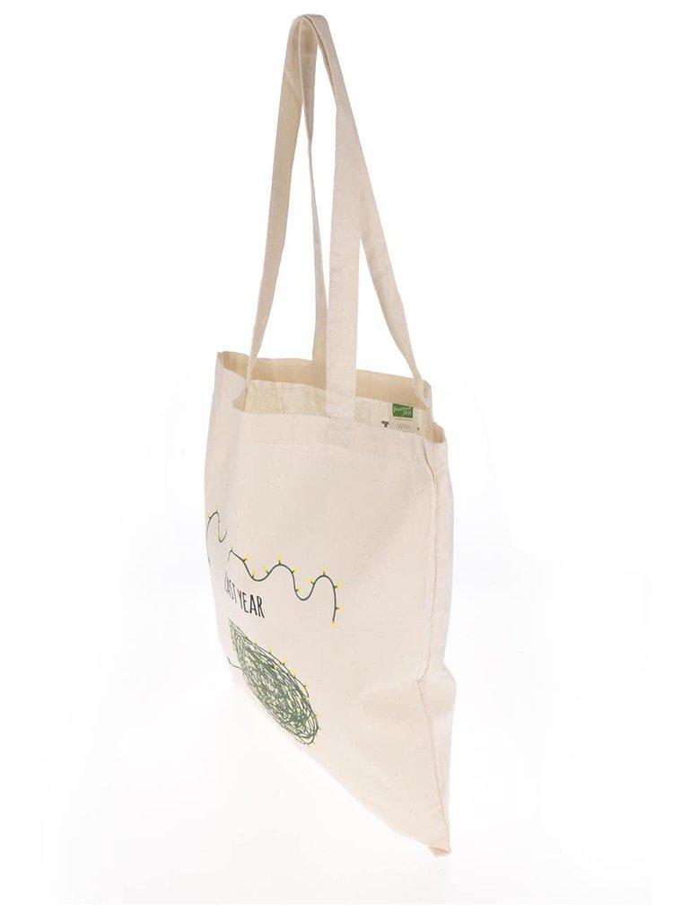 Krémová plátená taška s potlačou ZOOT Originál Svetielka