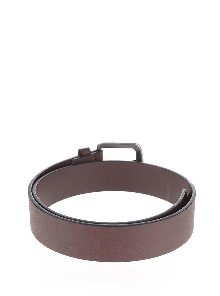 Tmavě hnědý koženkový pásek ONLY & SONS Cray