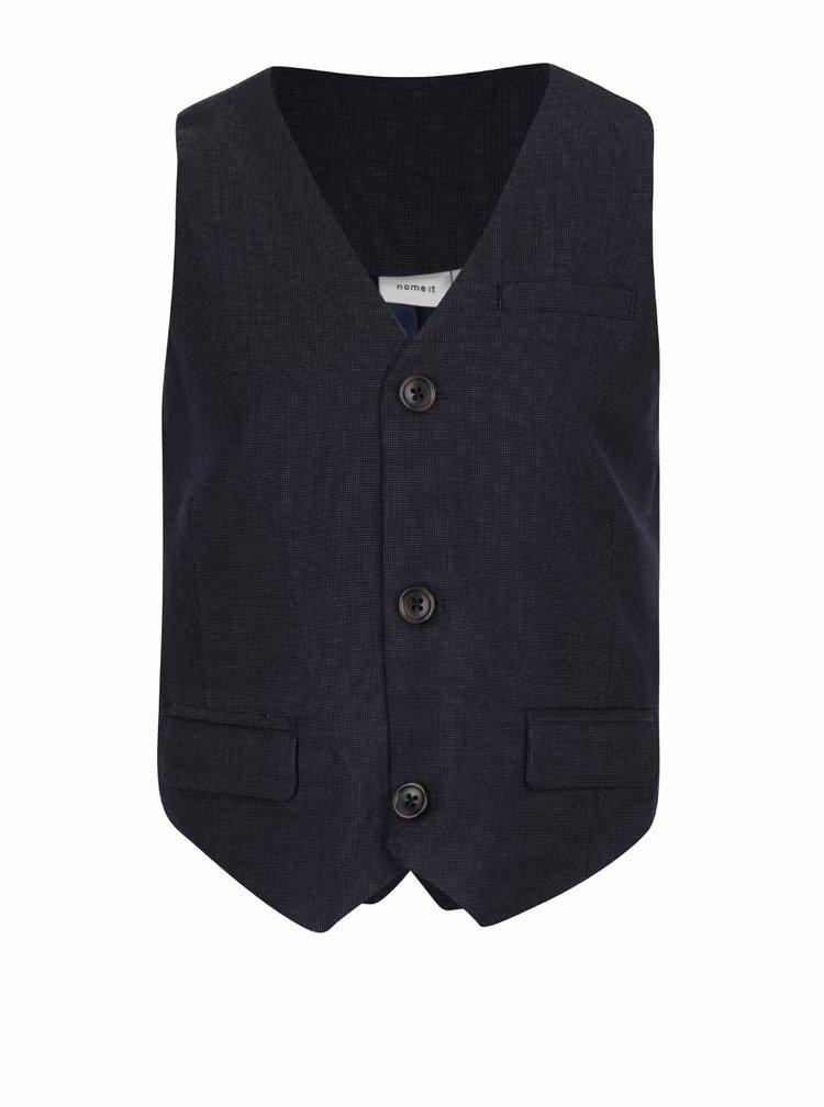 Tmavě modrá klučičí formální vesta s jemným vzorem name it Holger