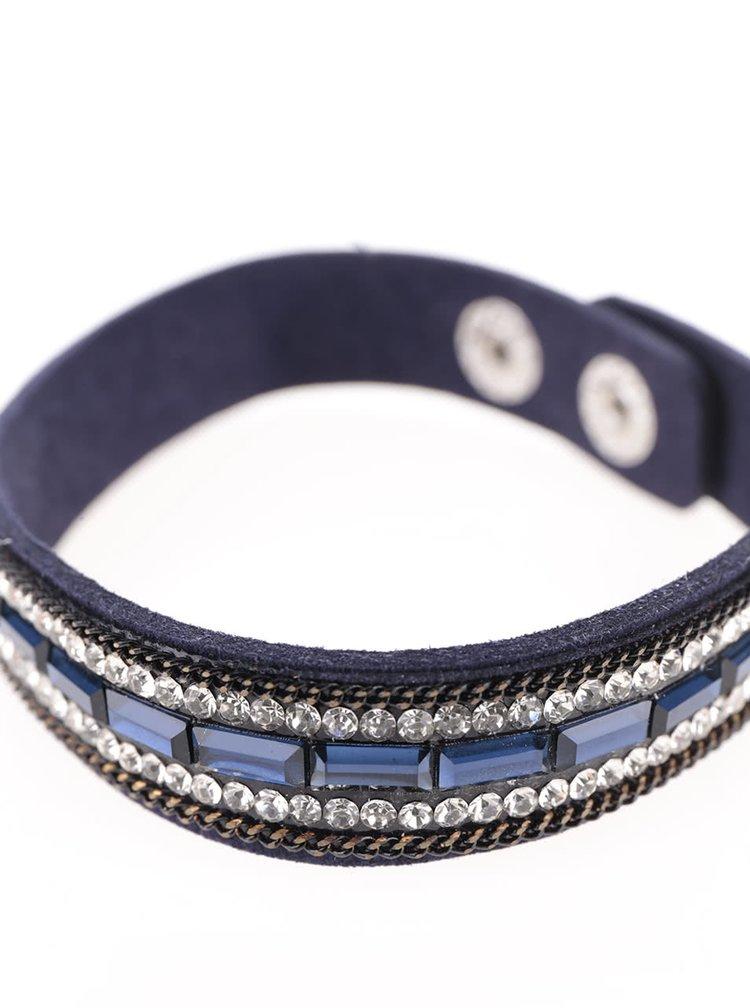 Černý náramek s kamínky v modré barvě Haily´s Laila