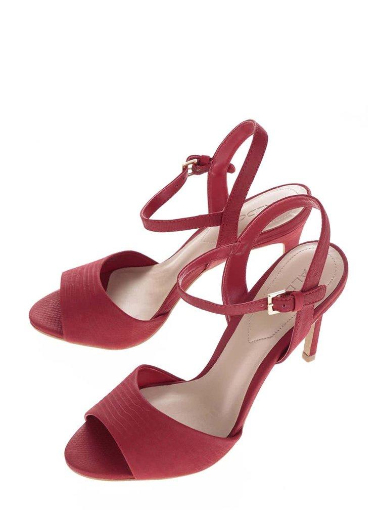 Červené kožené sandálky na jehlovém podpatku  ALDO Volongo