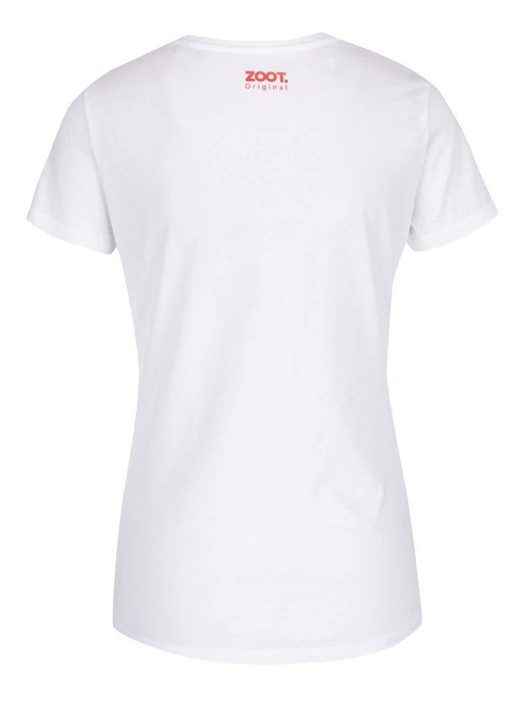 Bílé dámské tričko s potiskem ZOOT Originál Šťastná a veselá