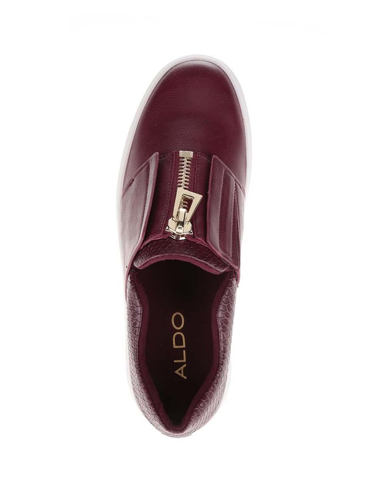 Vínové dámské loafers se zipem ve zlaté barvě ALDO Afaossi