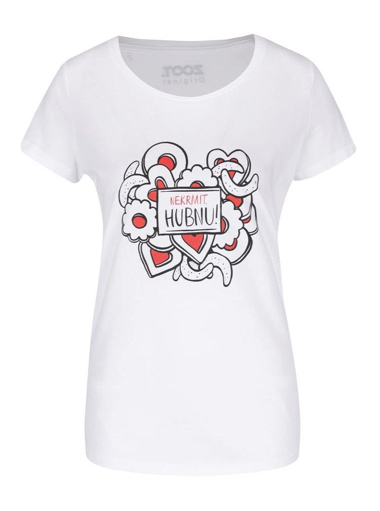 Bílé dámské tričko s potiskem ZOOT Originál Nekrmit, Hubnu!