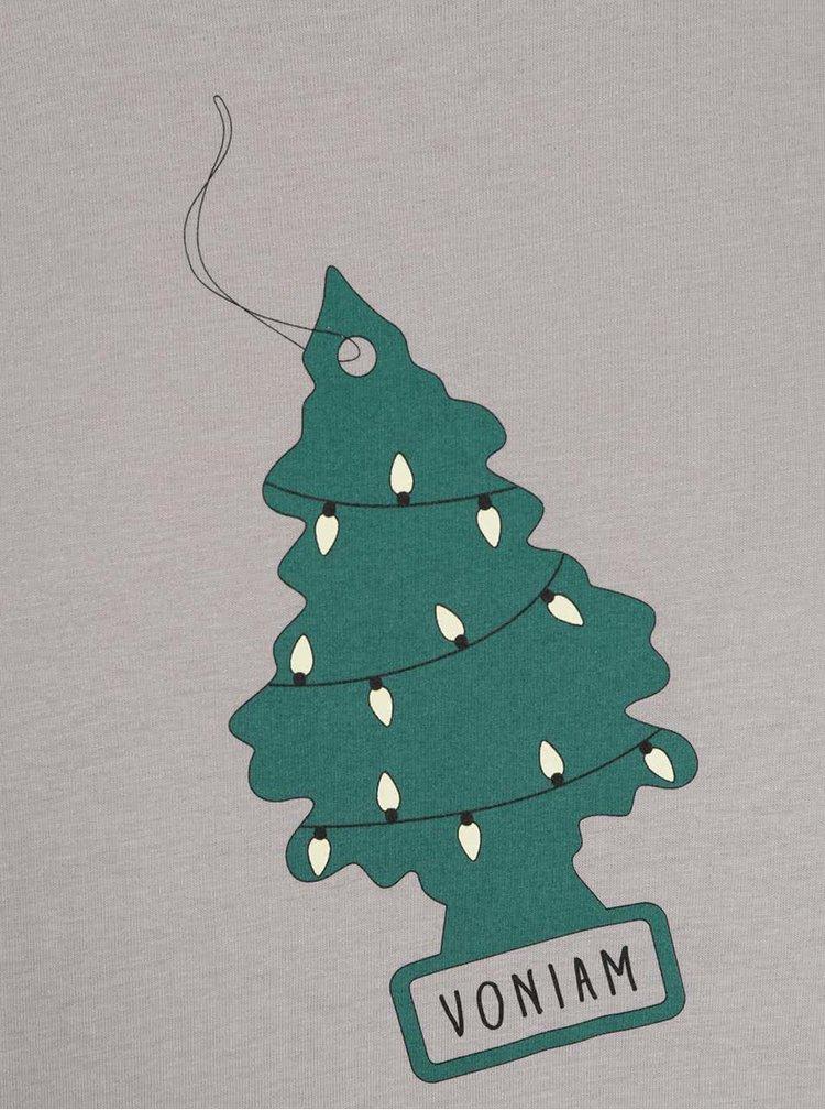 Šedé pánské triko s potiskem ZOOT Originál Voňavé Vánoce