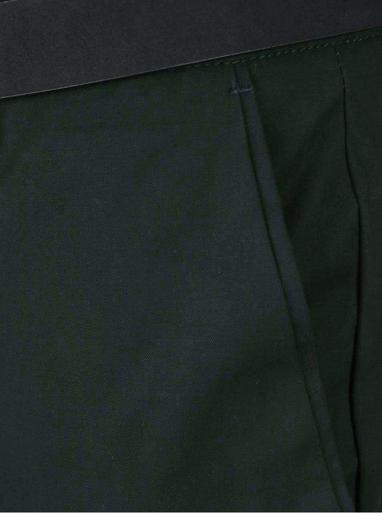 Tmavozelené slim chino nohavice s opaskom Burton Menswear London
