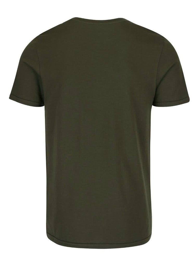 Tmavě zelené triko s potiskem Jack & Jones Custom