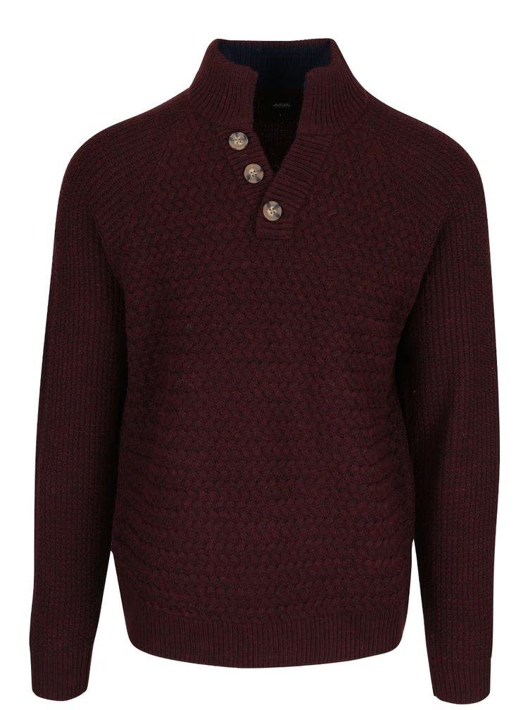 Pulover vișiniu cu guler înalt Burton Menswear London