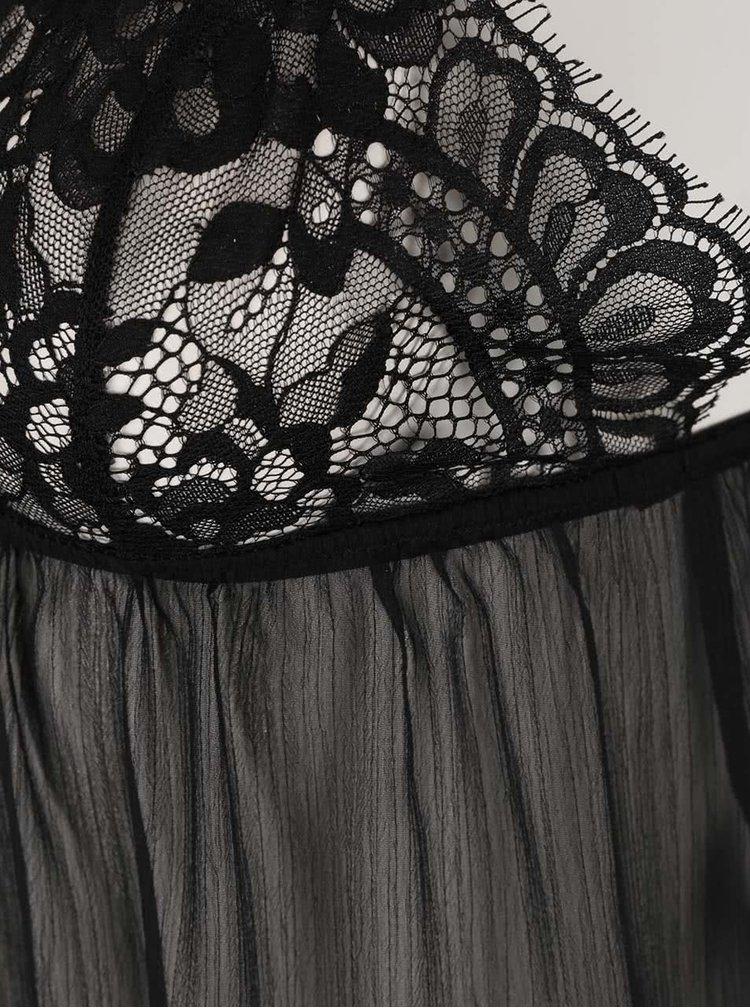 Čierna priesvitná nočná košieľka s čipkovanými detailmi Y.A.S Clare
