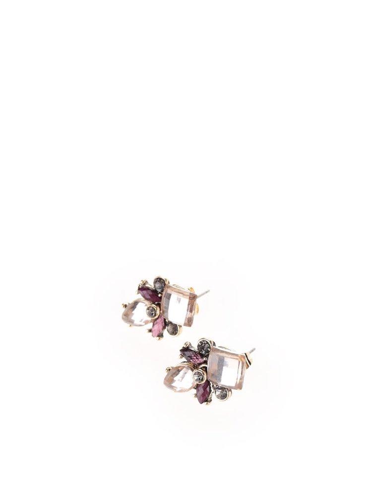 Růžové náušnice s kamínky Pieces Dorthi