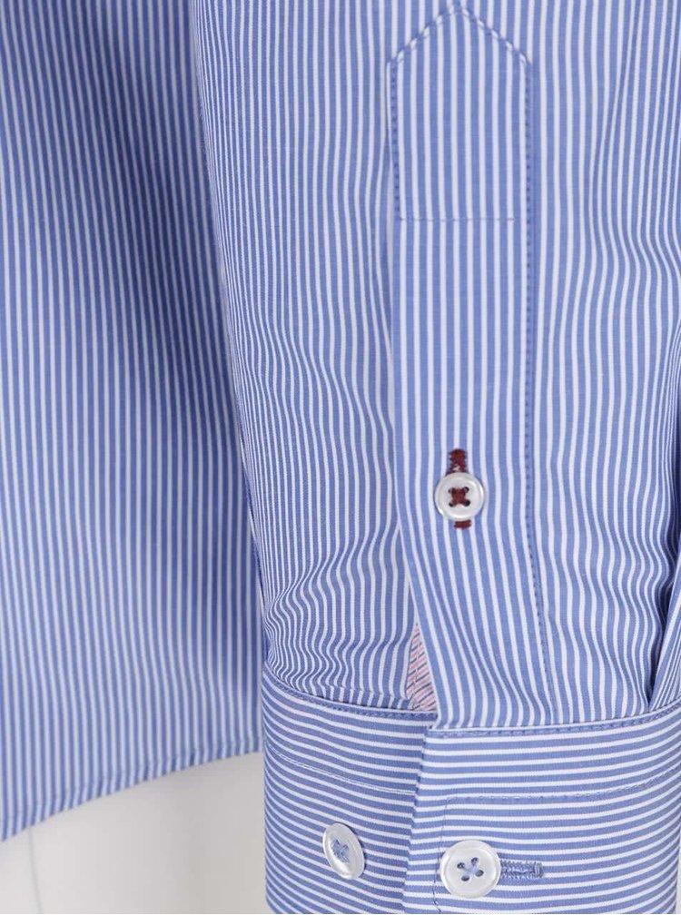 Cămașă crem & albastru Burton Menswear London cu model în dungi