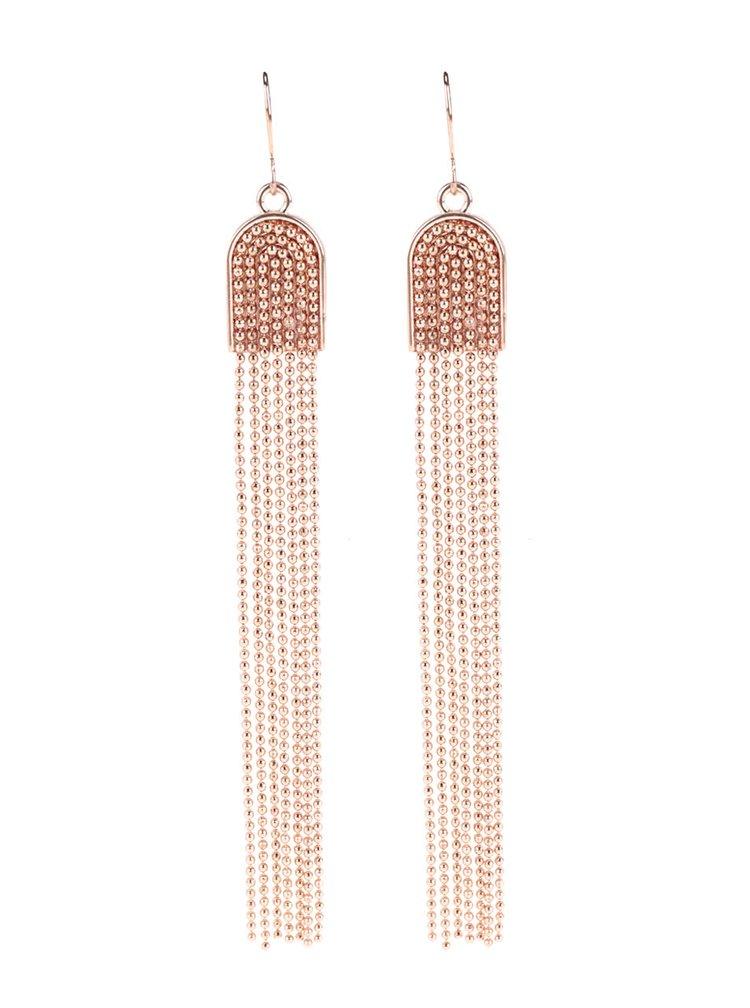Dlhé náušnice vo farbe ružového zlata Pieces Denize