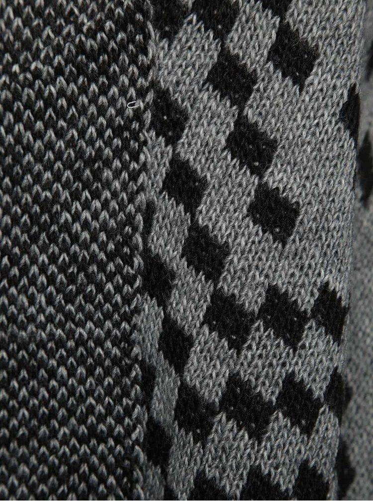 Černo-šedý vzorovaný cardigan s třásněmi Madonna Liliana