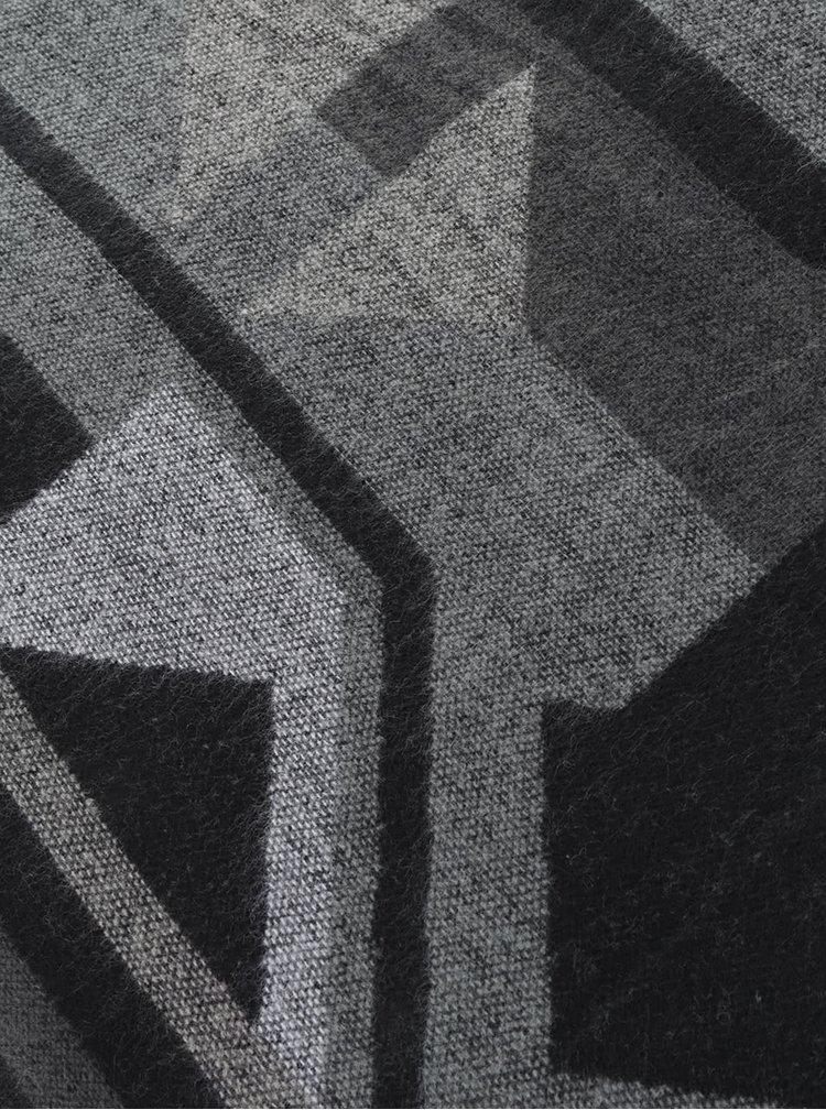 Šedo-černá vzorovaná šála s třásněmi Pieces Drum
