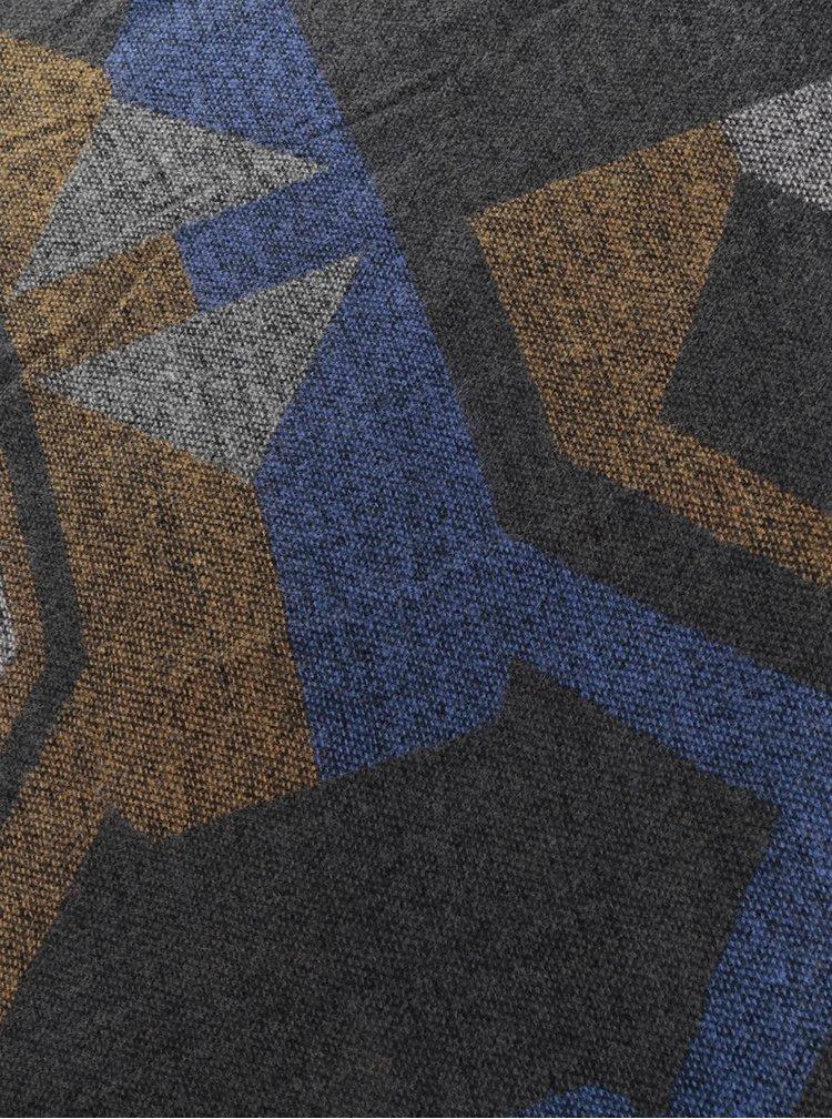 Hnědo-modro-šedá šála s třásněmi Pieces Drum