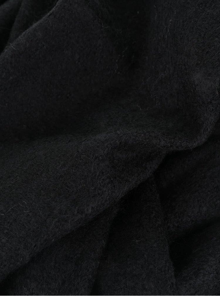 Černá šála s třásněmi Pieces Damina