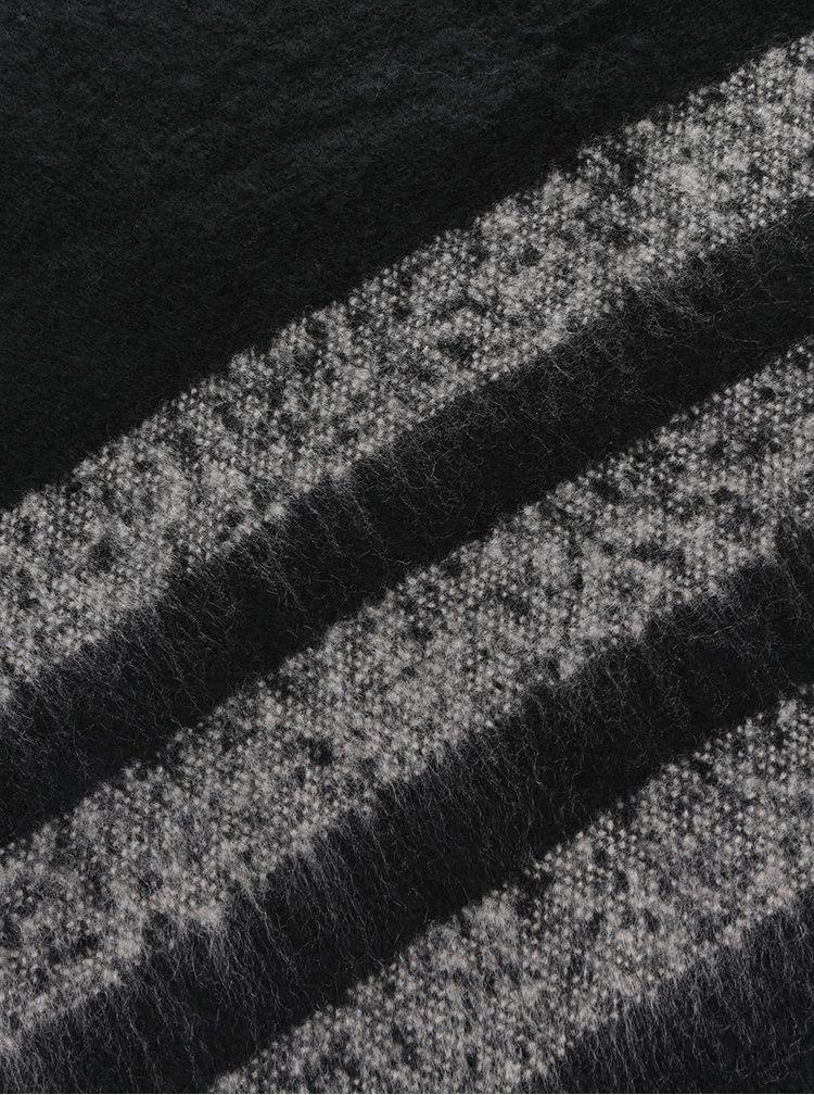 Fular negru Pieces Damina cu franjuri