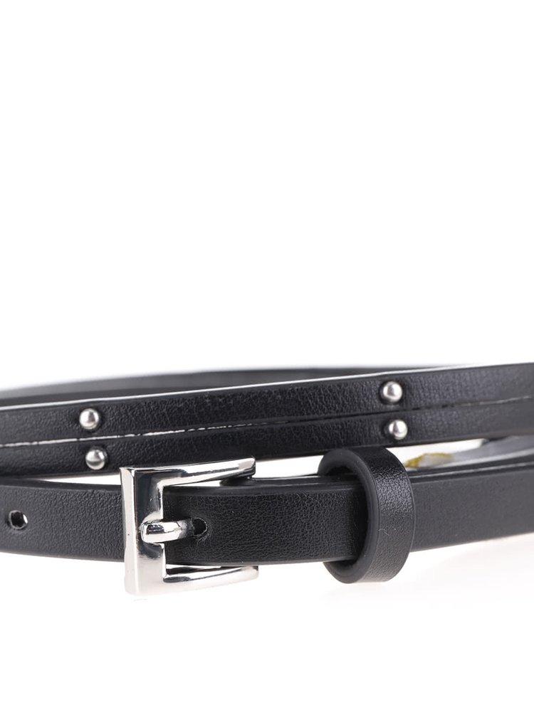Černý tenký koženkový pásek Pieces Damia
