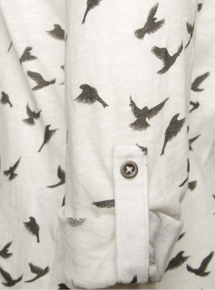 Krémové tričko s motivem ptáčků a 3/4 rukávy Haily´s Ocie