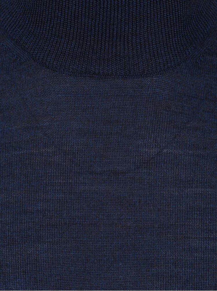 Tmavomodrý rolák s dlhým rukávom z Merino vlny Burton Menswear London