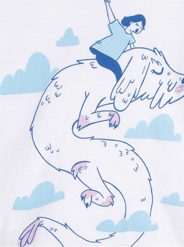 Tricou alb ZOOT Kids - Neverening story din bumbac cu print