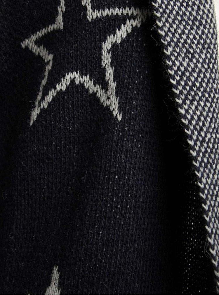 Bielo-modrý dlhší kardigan s motívom hviezd a kapucňou Haily´s Sherine
