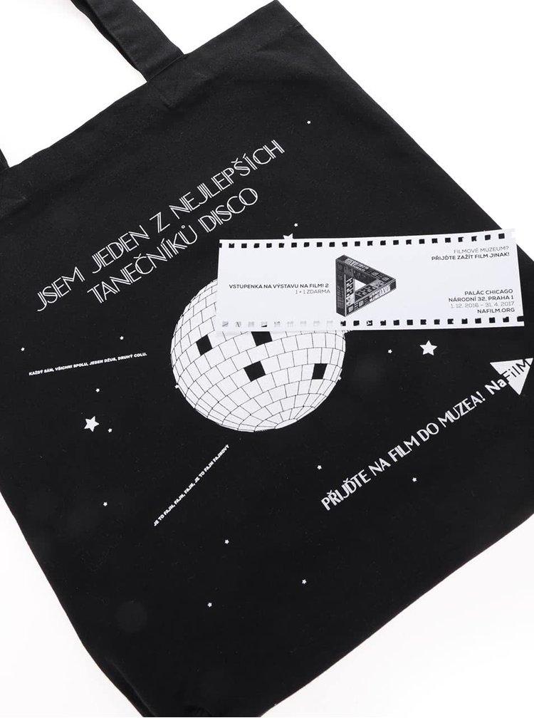 """""""Dobrá"""" čierna plátenná taška NaFILM Kouř"""