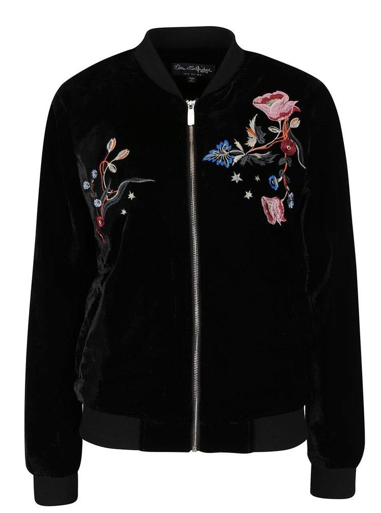 Jachetă bomber neagră cu broderie florală Miss Selfridge