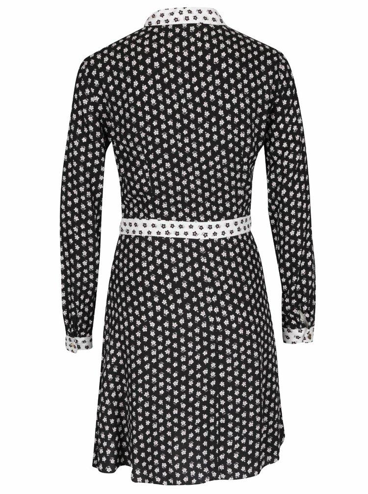 Bílo-černé košilové květinové šaty Miss Selfridge