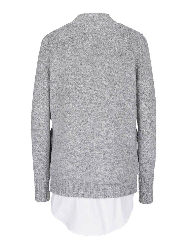 Šedý svetr s rolákem a všitým košilovým lemem Nirav b.young