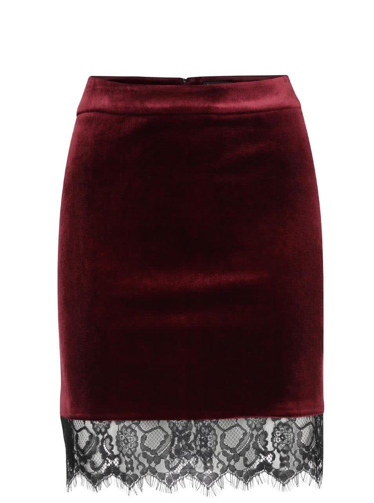 Vínová sametová sukně s krajkou Miss Selfridge