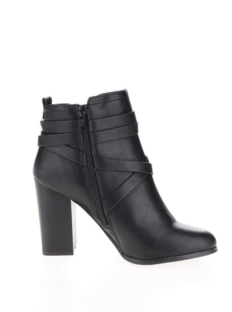 Černé kotníkové boty na podpatku s detaily ve zlaté barvě Miss Selfridge