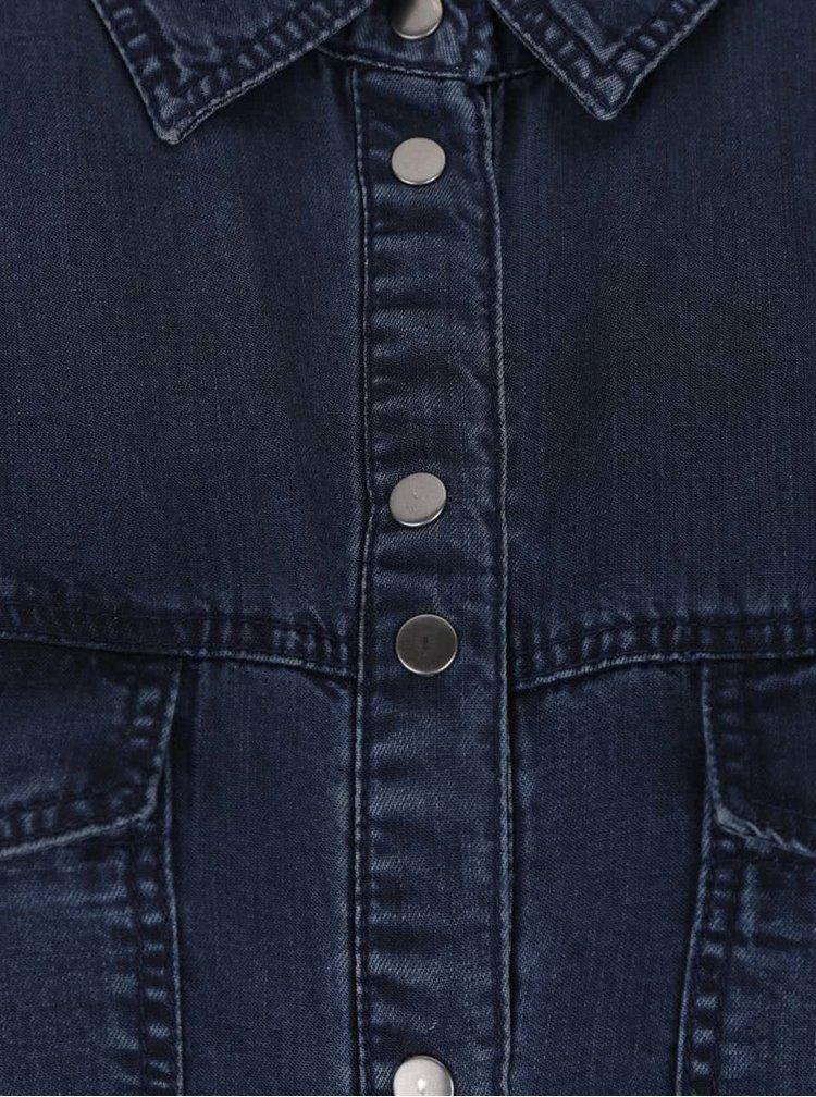 Tmavomodrá dlhá rifľová košeľa ONLY Julia