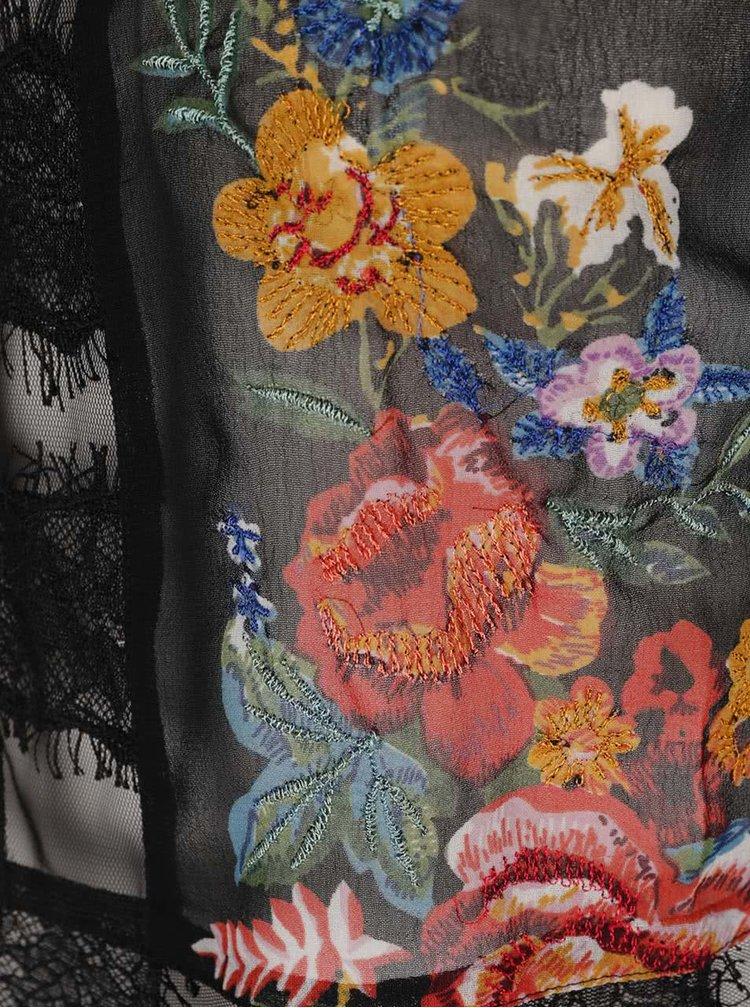 Černá průsvitná halenka s květinovým potiskem Miss Selfridge