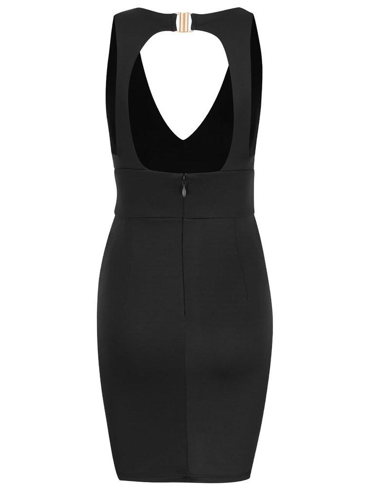 Čierne elastické šaty s prestrihom na chrbte Miss Selfridge