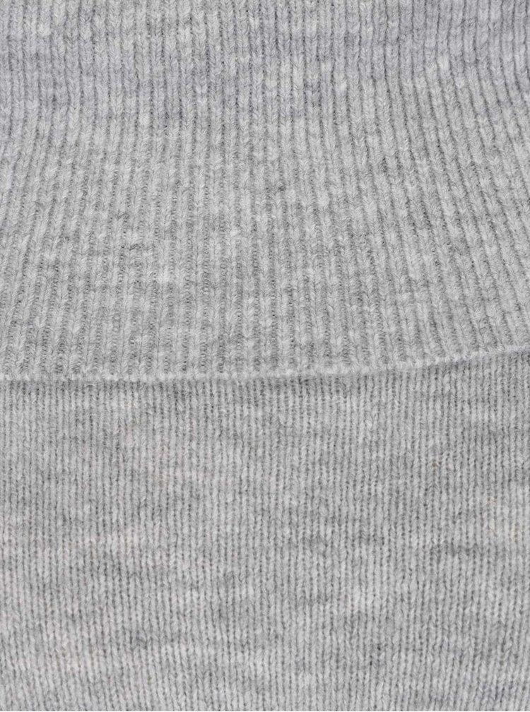 Světle šedé žíhané svetrové šaty s širokým límcem Miss Selfridge