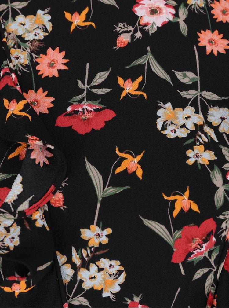 Rochie neagră cu imprimeu floral și volane Miss Selfridge