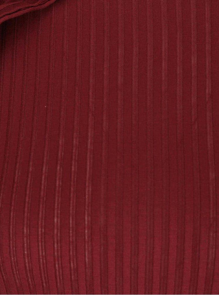 Vínové žebrované tričko s průstřihy na ramenou Miss Selfridge