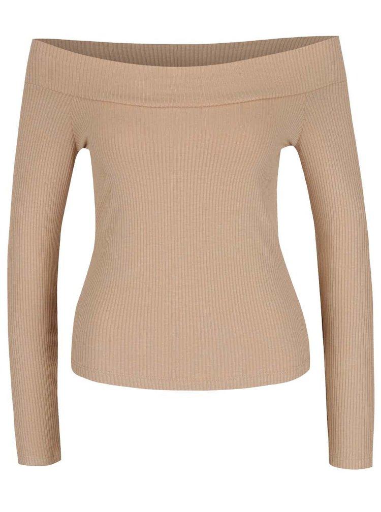 Béžové žebrované tričkos odhalenými rameny Miss Selfridge
