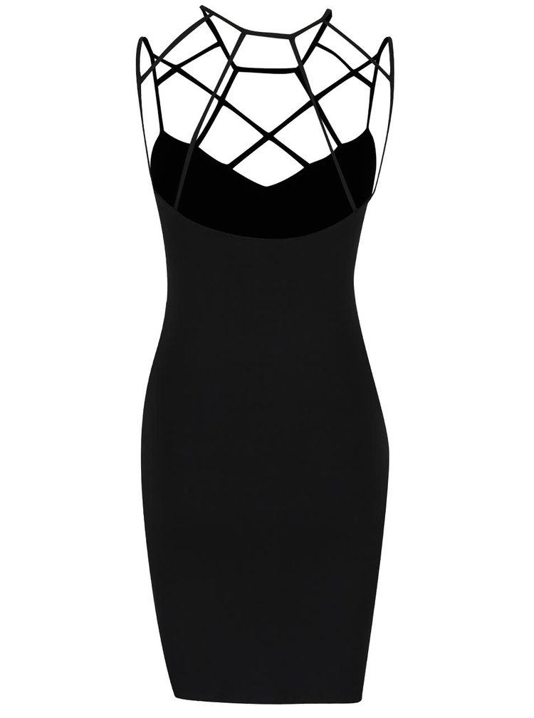 Černé mini šaty s prořezávaným dekoltem Miss Selfridge