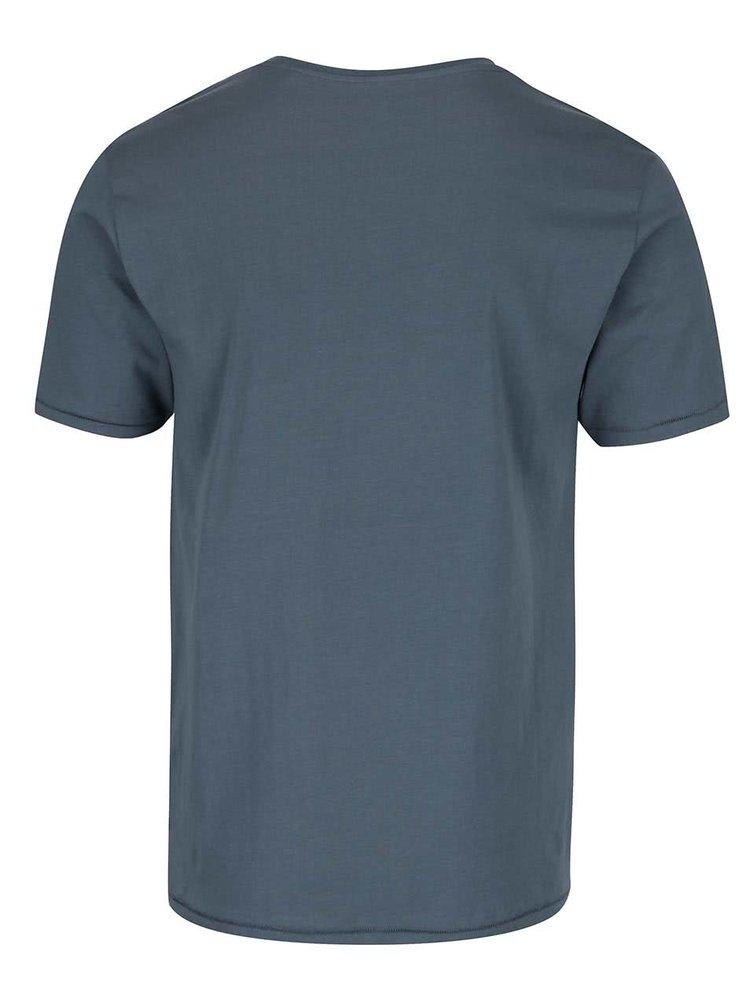 Tricou albastru ONLY & SONS Axel din bumbac cu print