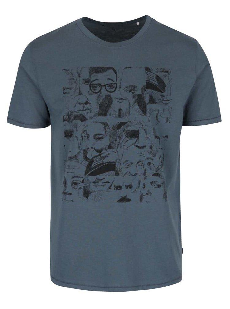 Šedomodré triko s potiskem a krátkými rukávy ONLY & SONS Axel