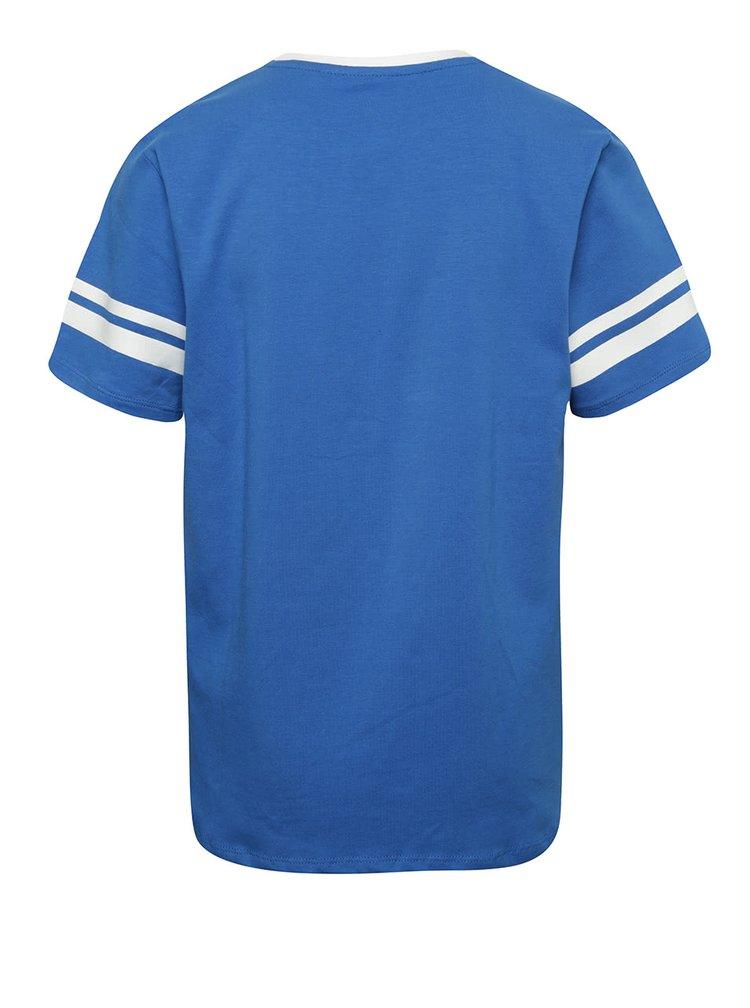 Modré klučičí triko s barevným potiskem 5.10.15.