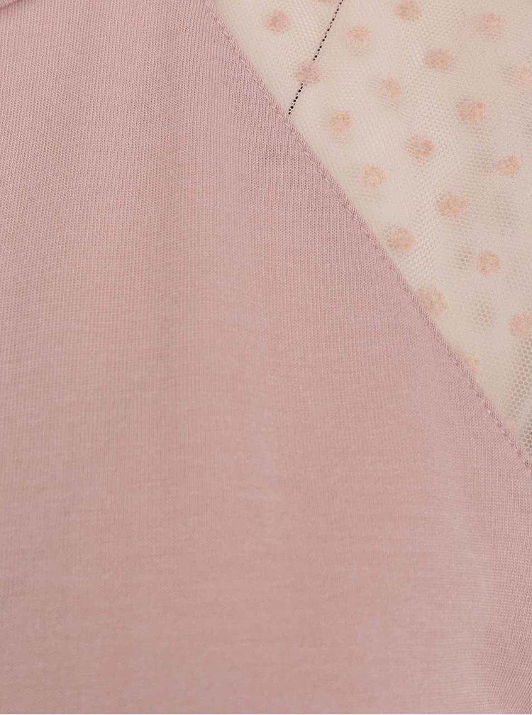 Růžové tričko s průsvitnými rukávy s puntíky ONLY Lulu