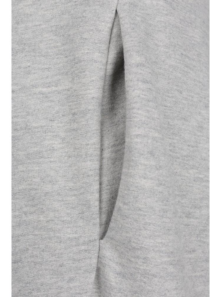 Světle šedé mikinové šaty s krajkovými rameny Miss Selfridge
