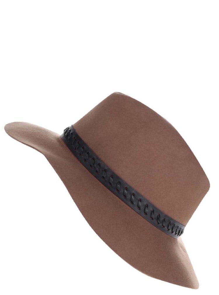 Hnědý vlněný klobouk s černým páskem Miss Selfridge