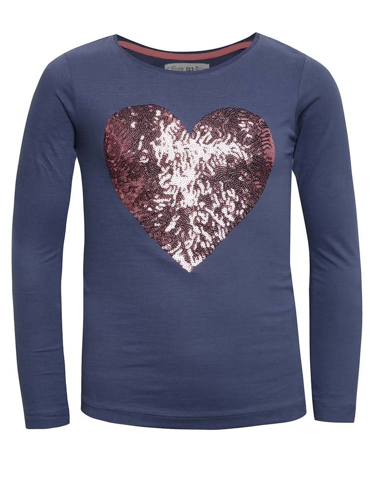Tmavě modré holčičí tričko s flitrovaným srdcem 5.10.15.