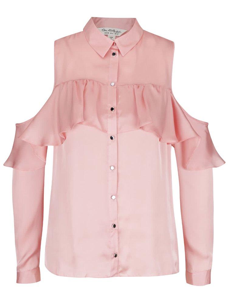 Cămașă roz Miss Selfridge cu umerii decupați